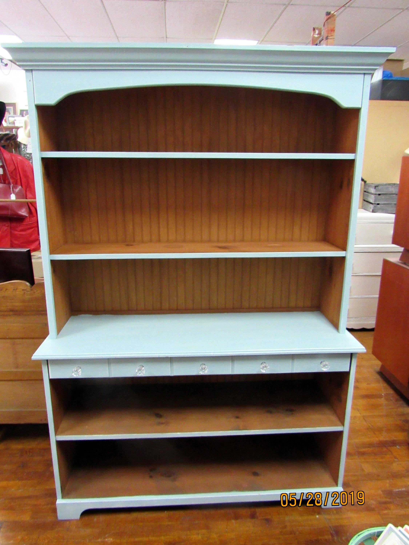Aqua Painted Open Hutch Or Bookshelf