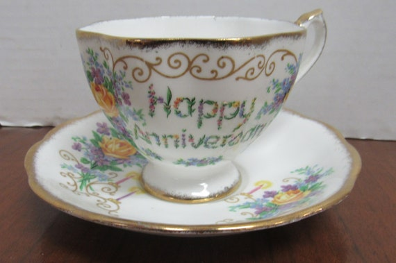 Happy Anniversary teacup and saucer