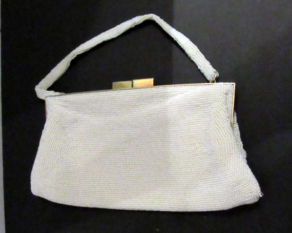 White Beaded Purse made in Japan