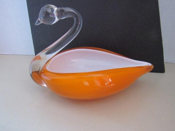 Art Glass Swan candy dish