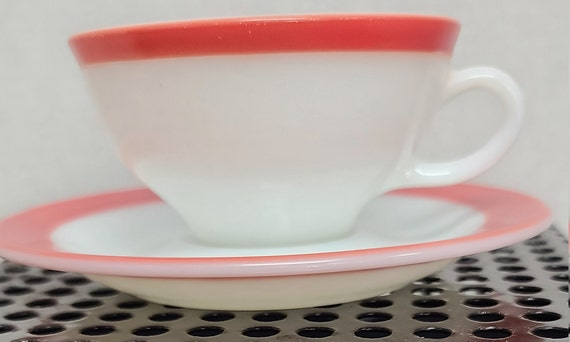 Pyrex coral cup and saucer