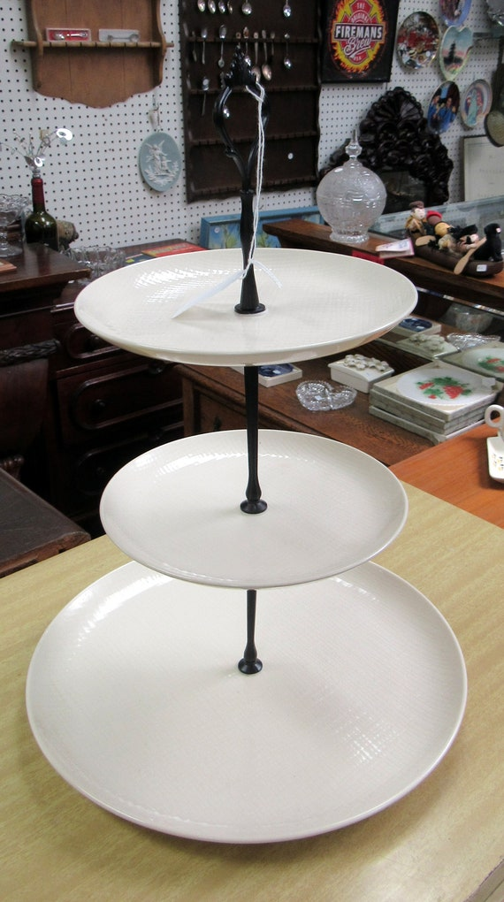 Ivory three tiered cake server