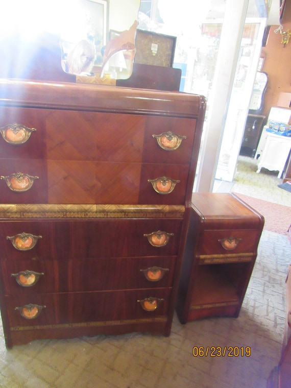 Art Deco Waterfall Highboy Dresser and night stand