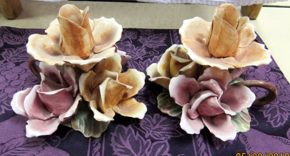 Capodimonte floral candle holders