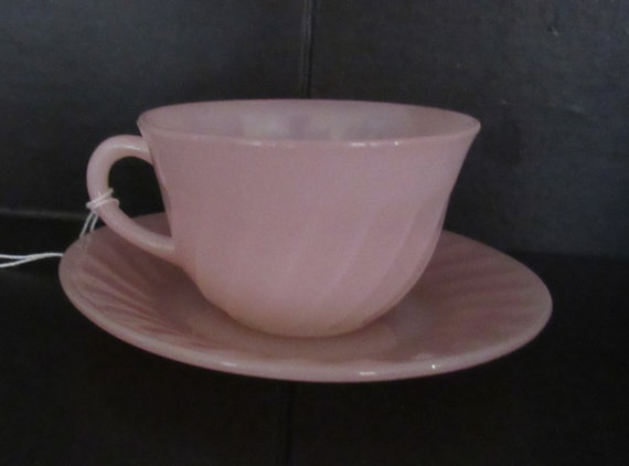 Fire King Pink Swirl cup and saucer