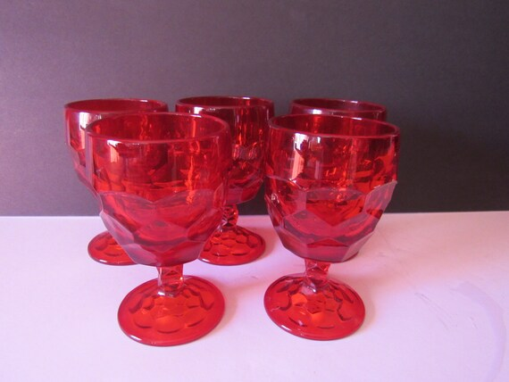 Ruby glass stemmed goblets