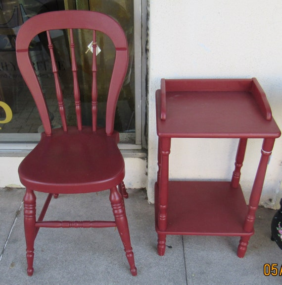 Red small table and chair