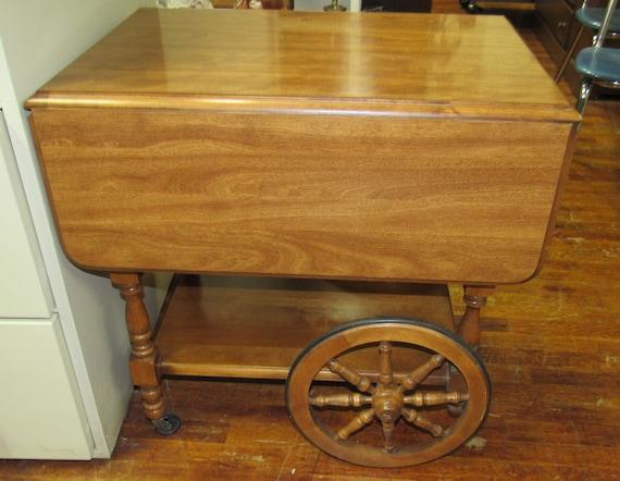 Maple drop leaf bar cart or tea cart