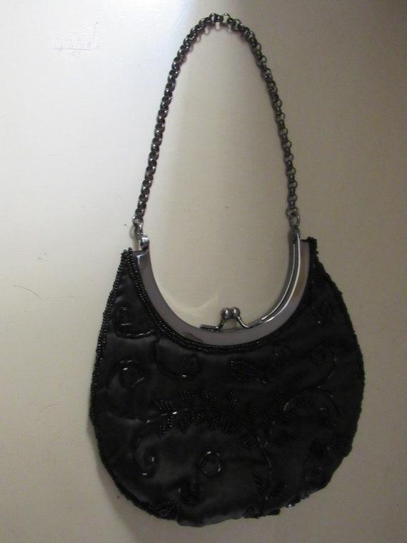 Black satin and beaded purse