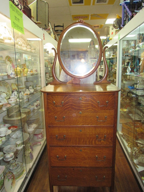 Tiger Oak Highboy Dresser with Mirror narrow size