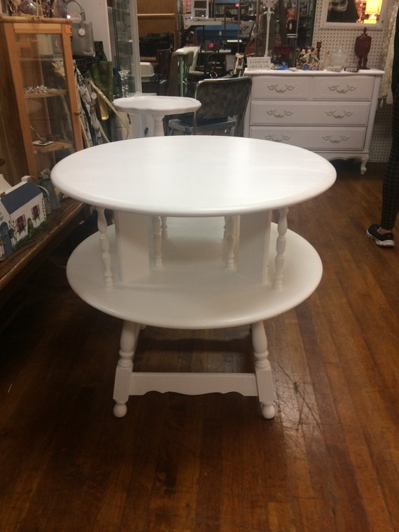 White Book table solid maple restyled white