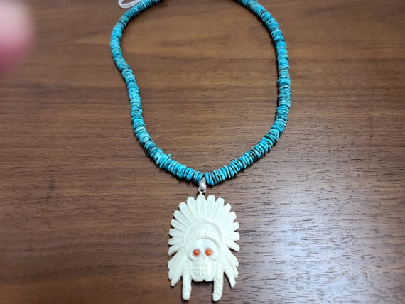 Turquoise and bone  necklace