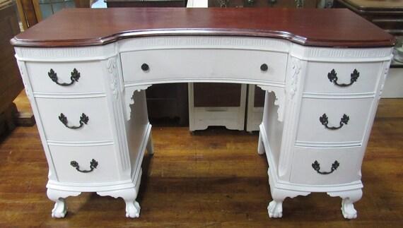 Vintage Mahogany Desk restyled shabby chic white