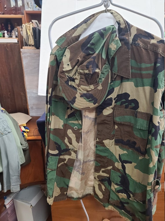 US Army camouflage shirt with hat