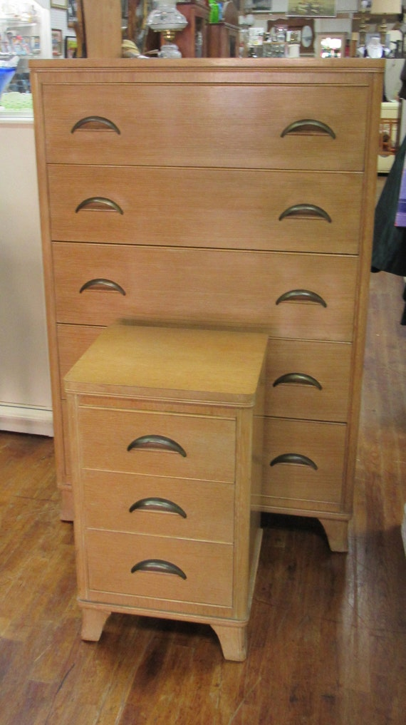 Mid Century Modern Blonde bedroom set - 2 dressers, night stand, headboard/footboard