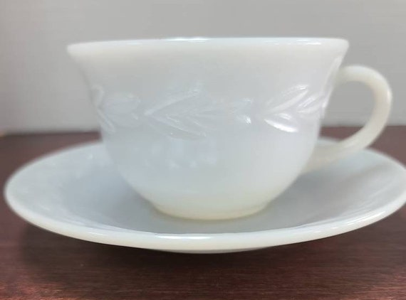 Fire King Grey Laurel pattern cup and saucer