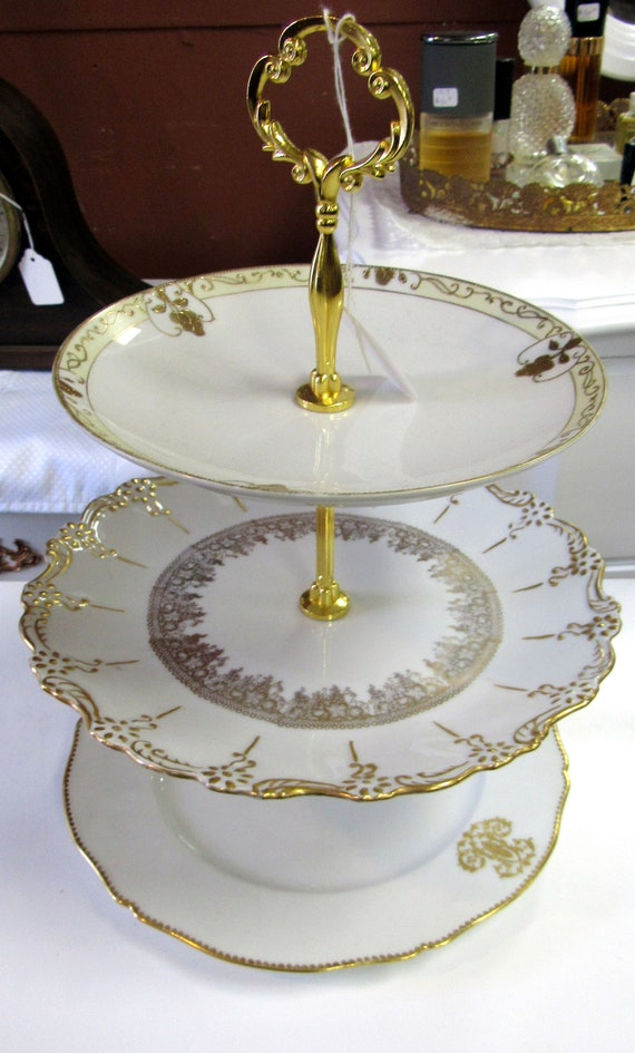 Three Tiered server gold and white