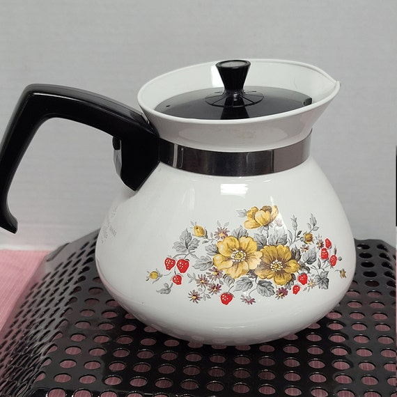 Vintage Corning Ware 6 cup floral  wallflower strawberries  teapot.