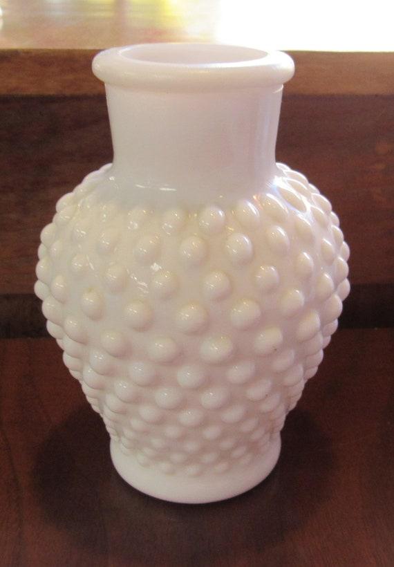 Hobnail milk glass vase