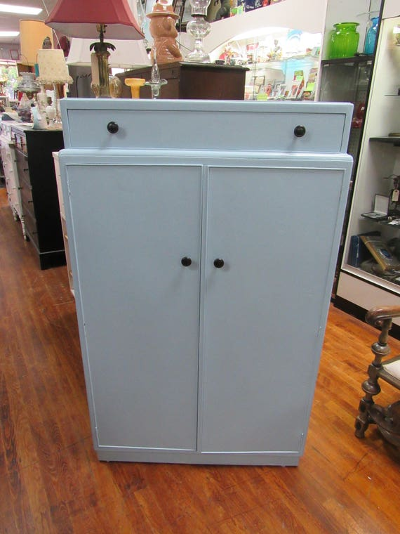 Blue Armoire Dresser with shelves, drawer and hanging space