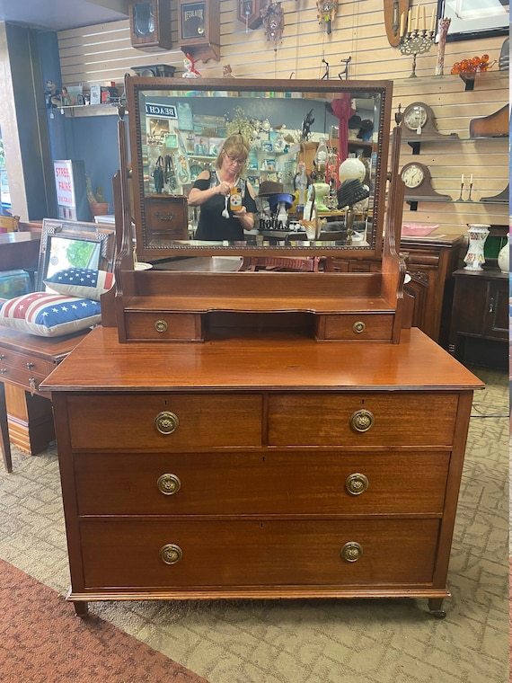 Antique Mahogany Dresser with Mirror by Robson