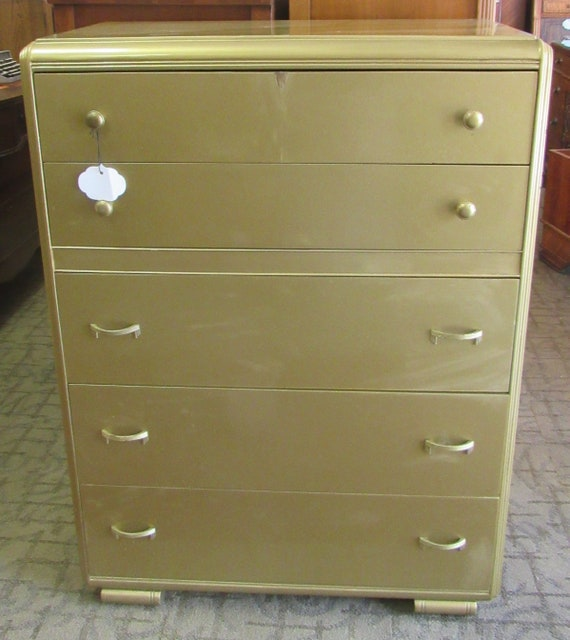Art Deco Gold Dresser, vanity, mirror and bench