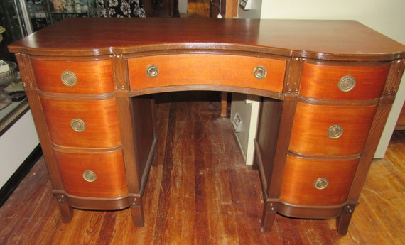 Cherry wood desk with seven drawers