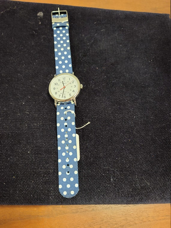 Timex with blue and white dot band Indiglo wristwatch