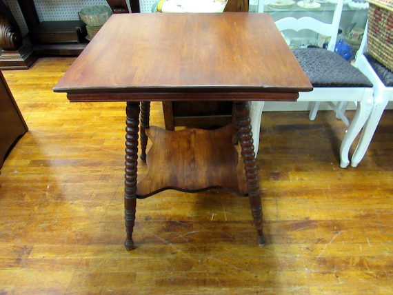 Vintage walnut two tiered lamp table