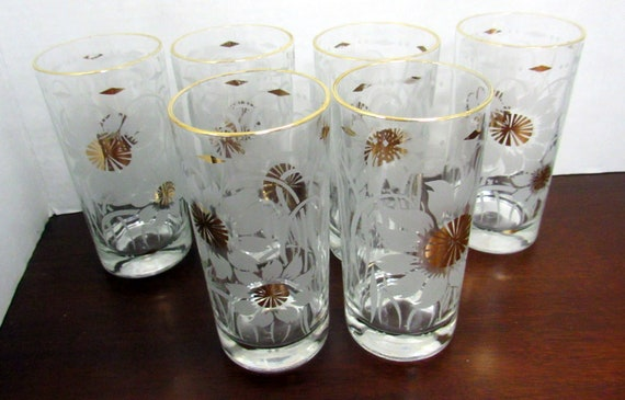 Six drinking glasses Sunflower pattern