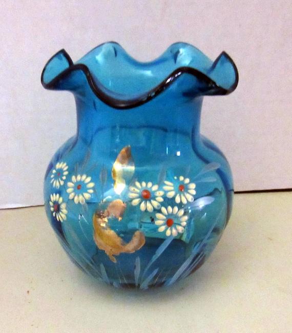 Aqua vase with hand painted design