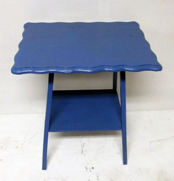 two tired table with scalloped edge mahogany restyled blue