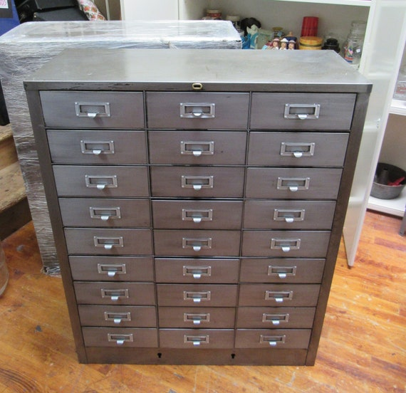Industrial cabinet 27 drawers ideal for jewelry, parts or??