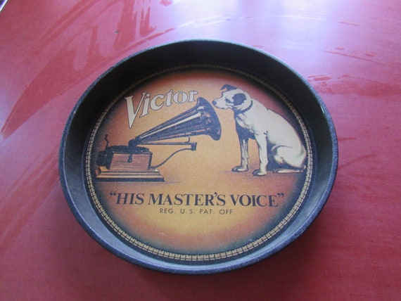"""Victor Nipper metal tray """"His Master's Voice"""""""
