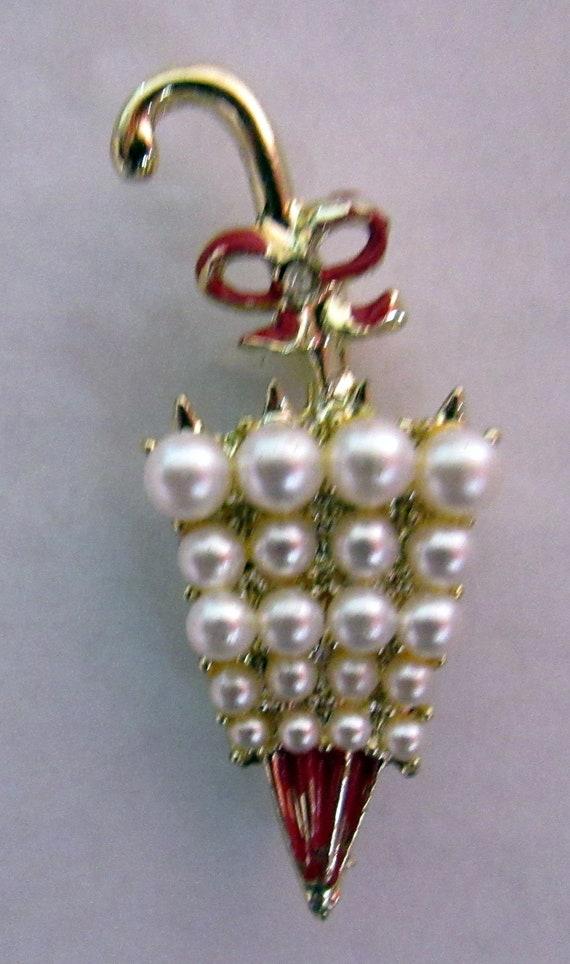 Pearl umbrella brooch or pin