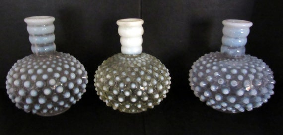 Hobnail glass candle holders