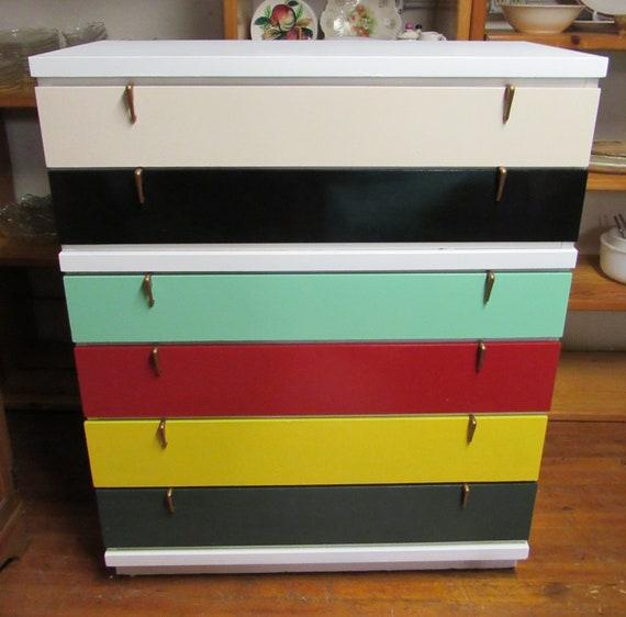 Mid Century Modern Dresser restyled rainbow colors