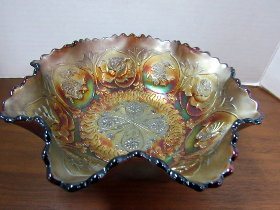 Fenton Dragon and Lotus Carnival Glass footed bowl