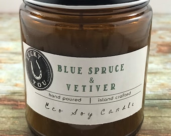Blue Spruce & Vetiver Eco Soy Vegan Candle