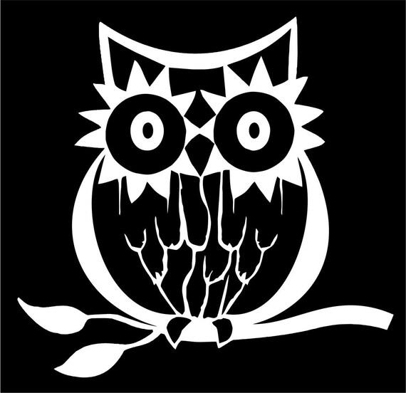 Sunflower Owl Vinyl Car Window Cutout  PICK YOUR COLOR