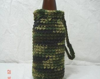 Green Camouflage Crochet Bottle Cozy