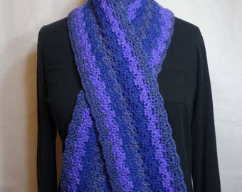 Blueberry Waves Crochet Scarf