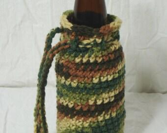 Woodsy Camo Portable Crochet Bottle Cozy