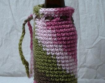 Pink Camo Portable Crochet Bottle Cozy