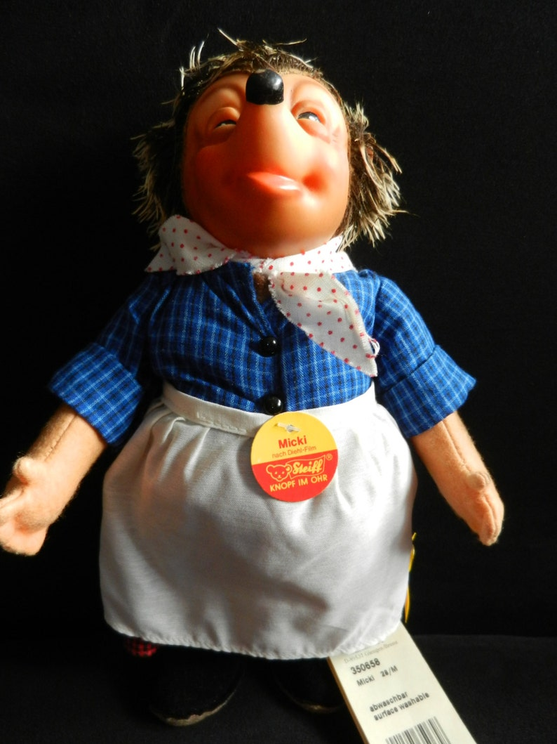 STEIFF Micki 26 cm from the 70s with button flag and shield SUPER STATE