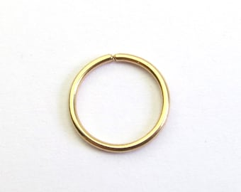 171592a63 Solid Gold Hoop Earrings - 9k or 18k Gold Small Sleeper Earring -  Continuous Hoop - Ear, Cartilage, lip, Nose Ring
