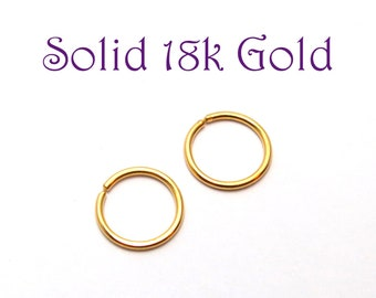 Solid 18k Gold Hoop Earrings - Small Sleepers - Continuous Endless Hoops - Ear, Cartilage, lip, Nose, Cartilage Ring - SOLD INDIVIDUALLY