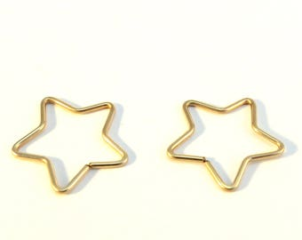 Gold Star Earrings, star shaped hoops Gold or Rose Gold sleepers