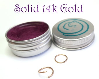 Solid 14k Gold Hoops - Small Sleeper Earrings - Continuous Endless Hoops - Ear, Cartilage, lip, Nose, Cartilage Ring - SOLD INDIVIDUALLY