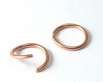 Rose Gold Hoop Earrings - Ear, Nose, Lip, Tragus, Eyebrow, Cartilage Ring -  20 Gauge Gold Filled SINGLE EARRING